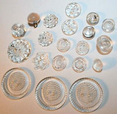 20x Antique All Clear Glass Buttons Mixed Patterns Sewing Button Vintage Costume