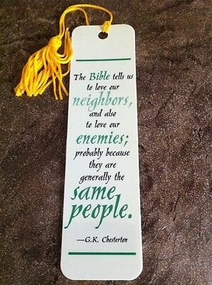 "Bookmark 5.75"" x 1.5"" with Tassel  The Bible Tells Us.. G.K. Chesterton"