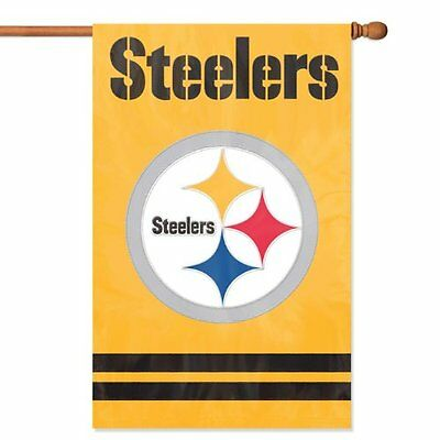 Pittsburgh Steelers LOGO 2-sided 28x44 Premium Embroidered Banner Flag Football