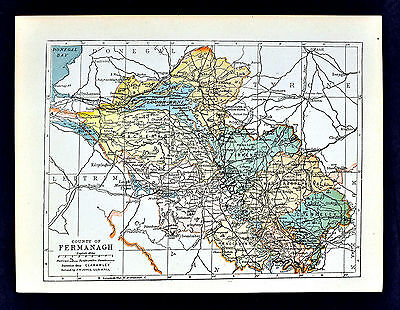 1899 Ireland Map - Fermanagh County - Enniskillen Belleek Lough Erne Ederny Kesh