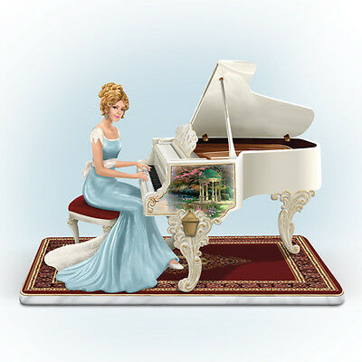 A Musical Interlude Figurine Lady Piano Resin Thomas Kinkade Bradford Exchange