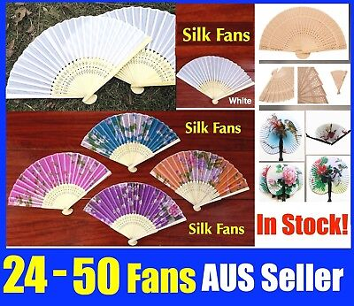 Bulk 12 Chinese Hand Folding Silk Bamboo Wooden Paper Fan White Red Pink Flower