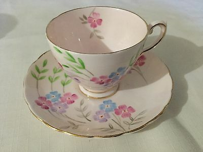 Tuscan Bone China Demitasse Cup And Saucer England  Pink/hand Painted Posies