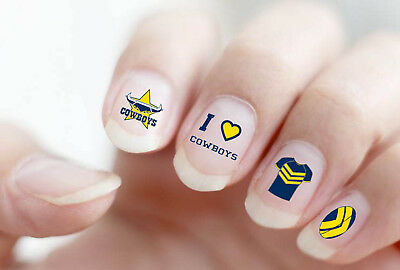 North Queensland Cowboys NRL Nail Art Decal Stickers Gel or Polish