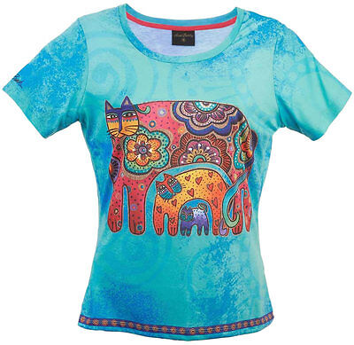 New LAUREL BURCH T-Shirt Tee Top SKY BLUE CAT Black White SIZE M Kitten Clothes