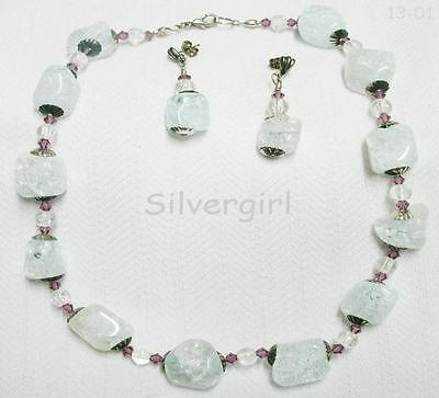 Light Blue Dyed Clear Quartz Gemstone Necklace and Earring Set