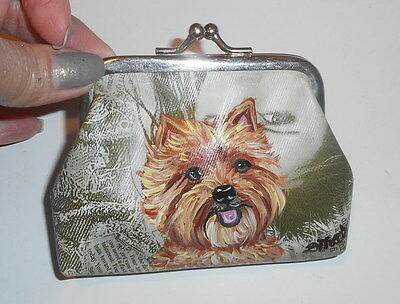 Wheaten Cairn Terrier Dog Hand Painted Leather Coin Purse Vegan