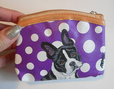 Boston Terrier dog Hand Painted Leather Coin Purse Vegan Mini wallet