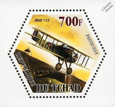 WWI French SPAD S.VII C1 Biplane Fighter Aircraft Stamp