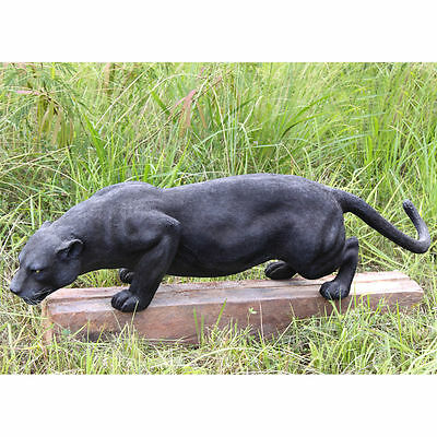 Realistic Grande African Wildlife Jungle Stalking Black Panther Sculpture Statue