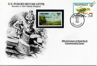 WWII 1944 US Forces Secure LEYTE/US Tank Stamp Cover (Philippines/Danbury Mint)