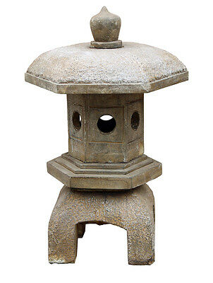 Chinese Zen Gray  Brown Hexagon  Stone Garden Lantern cs2436