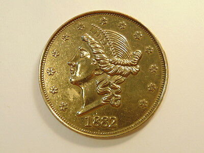 large facsimile 1882  20 dollar gold piece coin - 3 inches
