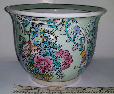 Chinese Famille Rose Porcelain Planter Pot Bowl Jardiniere Vintage to Antique