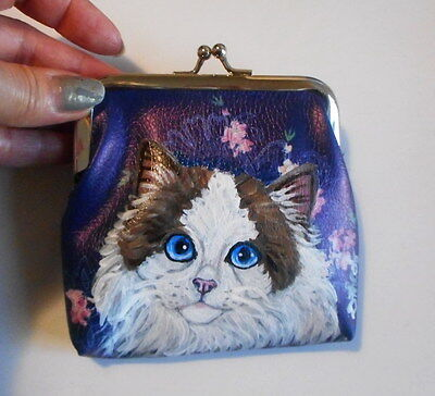 Ragdoll Cat Hand Painted Leather Coin Purse Vegan Mini wallet Purse