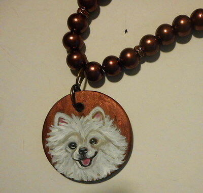 White Pomeranian dog Beaded Necklace Hand Painted Ceramicl Pendant OOAK