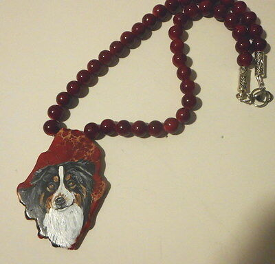 Australian Shepherd dog Beaded Necklace Hand Painted Jasper Pendant OOAK