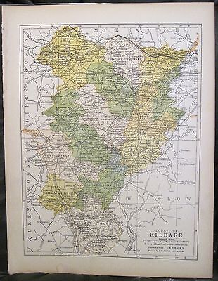 Irish Map County KILDARE Ireland Mtns Celbridge Naas Colored PW Joyce 1905 7x9.5