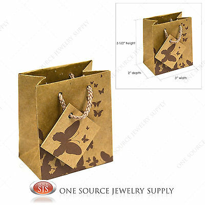 """20 Kraft Brown Butterfly Paper Tote Gift Bags Merchandise 3""""W x 2""""D x 3 1/2""""H"""