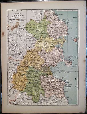 Irish Map County DUBLIN Ireland Skerries Bray Lucan Colored PW Joyce 1905 7x9.5