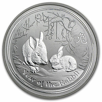 *2011 Australian Lunar Year of the Rabbit Coin 1/2 oz Silver in OGP Capsule-BU*