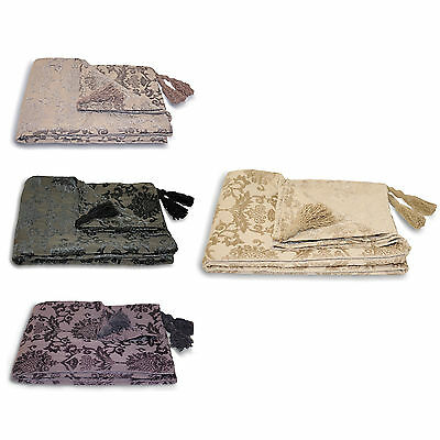 Damask Chenille Throw Over - Paoletti Modern Bed Blanket Sofa Throw 135 X 180 Cm
