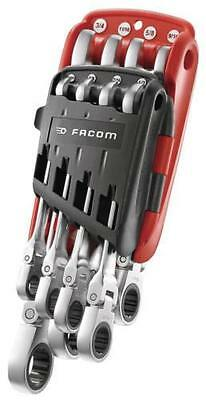 "Facom 5/16"" to 3/4"" 8pc Imperial Flexible Hinged Head Ratchet Spanner Wrench Set"