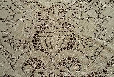 Vintage Nottingham Lace Tablecloth Urns & Scrolls Picots Cotton 82""