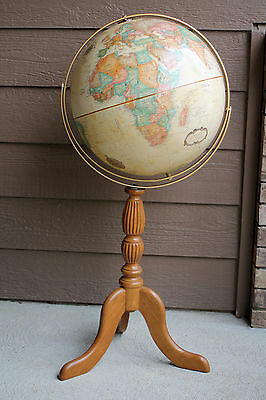 "Replogle 16"" Globe World Classic Series Wooden Floor Stand Raised Topography"
