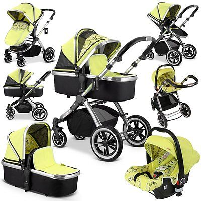 iVogue - Pear Luxury 3in1 Pram Stroller Travel System (Complete With Car Seat)