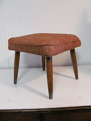 Vintage Mid Century Modern Orange Tweed Splay Leg Ottoman