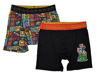 Super Mario Boys 2 Pack Multi Color Athletic Boxer Briefs Size 6 8