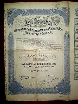 La Lowa , Belgian Congo Share certificate 1926. ,Fair/Good