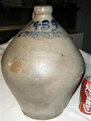 c.1839 COUNTRY PRIMITIVE ANTIQUE STONEWARE OVOID SALT GLAZE COLBALT SLIP ART JUG