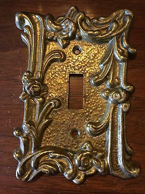 Solid Brass Vintage Ornate Rose Single Light Switch Cover Plate