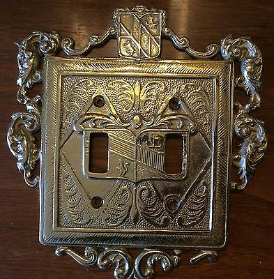 Virginia Metalcrafters Solid Brass Vintage Double Light Switch Cover Plate 24-18
