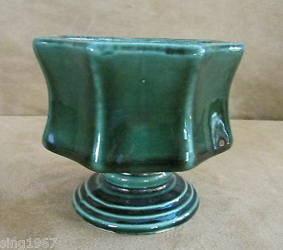 Hull Vintage Pottery Planters / Bowl forest green Pedestal Footed 8 Sided F3