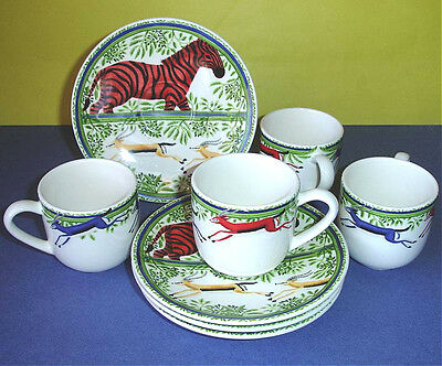 Gien Zenaba Espresso Cup & Saucer 8 Piece Service for 4 French Faience New