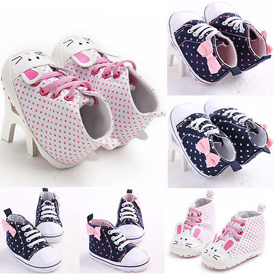 Newborn Baby Girl Canvas Crib Shoes Soft Pram Prewalker Anti-slip Sneakers 0-18M