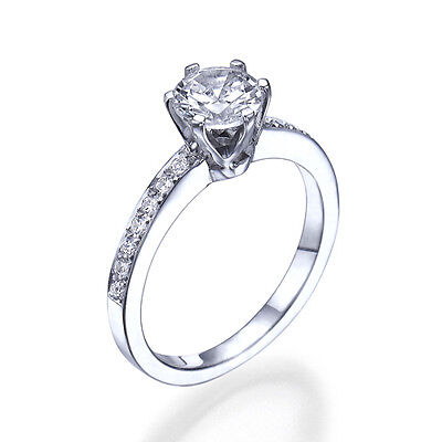 1 Ct Diamond Engagement Ring 14K White Gold Round Cut Solitaire Si1/d 9248