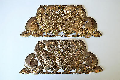 Beautiful pair of original Arts and Crafts brass entwined peacocks mounts