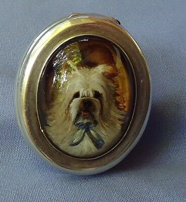 Antique Skye Silky Terrier Silver Snuff Box Essex Crystal