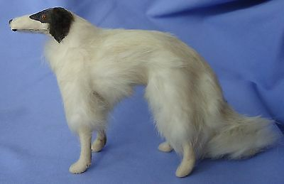 "Antique 9"" Fur Borzoi Salon Dog 4 French Fashion Doll Germany Label"