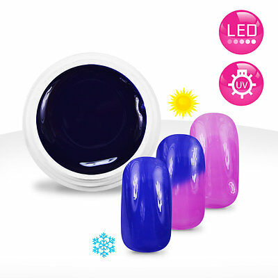 Gel UV / LED Couleur Thermo Bleu Profond / Violet - 5ml Manucure Ongles Nail Art
