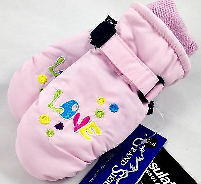Toddlers Girls Child Ski Winter Mittens Pink Waterproof 2-4 Years NWT #31135