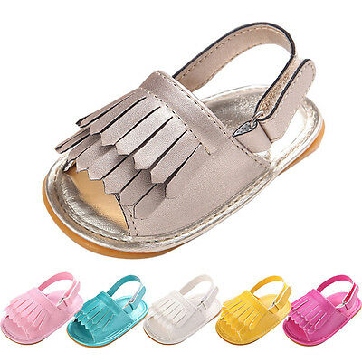 649dda4448c06 Newborn Baby Toddler Girl Sandals Soft Crib Shoes Leather Tassel Prewalker  0-18M