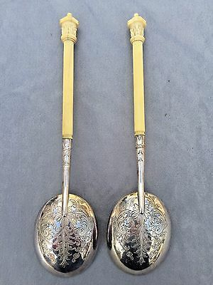 Antique Chinese Export Silver & Bone Large Ornate Serving Spoon Pair