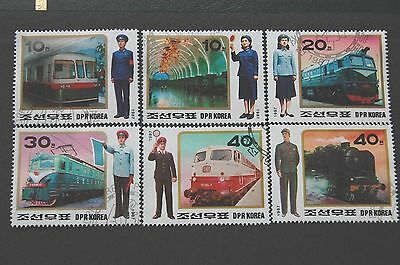 Railway Scenes & Workers Locomotives Trains Korea 1987 Set Of Six Stamps VFU