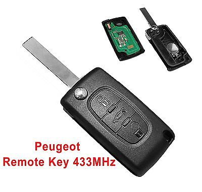 Fits to PEUGEOT 207 307 308 407 3  Button Remote Key FOB  433MHz VA2 blade