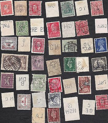 US - perfins - Packet of 40+ International  postage stamps  - B6603